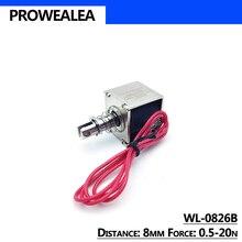 Solenoid elektromıknatıs İtme çekme tipi WL-0826B 5V 6V 12V 24V itme kuvvet 0.5-20N 8mm açık çerçeve doğrusal Solenoid elektrik mıknatısı