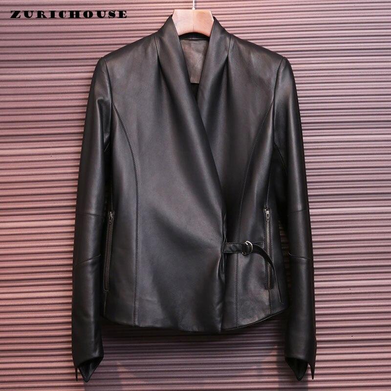 ZURICHOUSE 2020 Genuine Leather Jacket Women Top Quality Black Soft Real Leather Short Fashion V-neck Sheepskin Coat