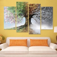 diamond painting 4 pcs full square/round cross stitch 3d pictures diamond embroidery Four Season Tree mosaic home Decoration