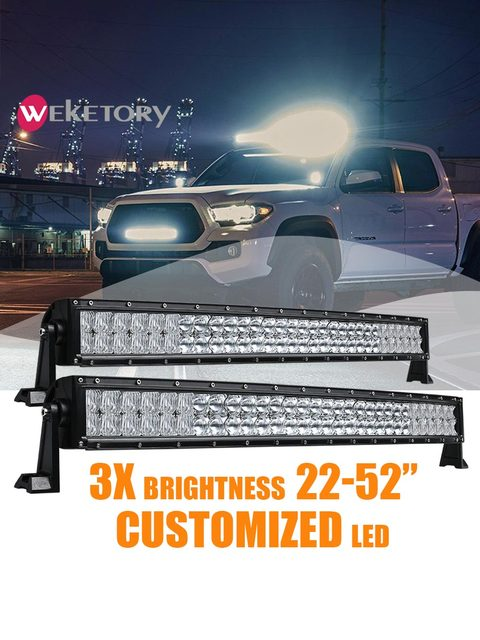 Weketor 5D 22 32 42 52 بوصة 200 واط 300 واط 400 واط 500 واط منحني LED قضيب مصابيح عملي لجرار قارب الطرق الوعرة 4WD 4x4 سيارة شاحنة SUV ATV