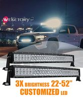 Weketory barra de luz curvada de led, 5d, 22, 32, 42, 52 polegadas, 200w, 300w, 400w, 500w para trator offroad 4wd 4x4 carro caminhão suv atv