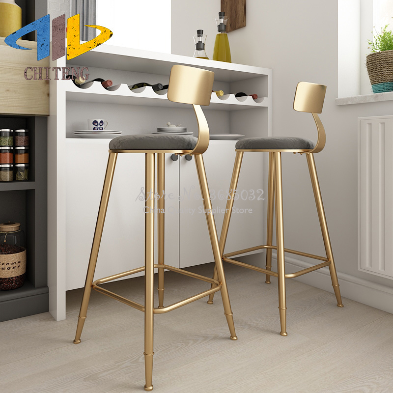Nordic Simple Golden Bar Chair Dessert Shop Cafe Restaurant Leisure Chair Back High Stand Bar Chair Bar Stool