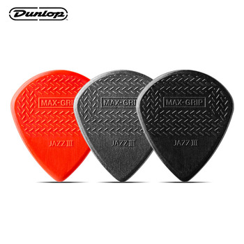 Dunlop Guitar Picks Nylon Max Grip Jazz III Carbon Fiber Flatpick Guitar Pick Stiffo Plectrum Mediator Gauge 1.38mm Guitar Picks