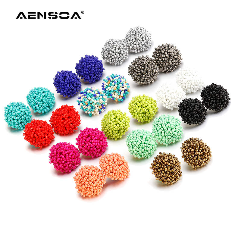 Aensoa Simple Multicolor Ethnic Resin Handmade Beaded Earrings For Women Accessories Bohemia Geometric Fashion Jewelry