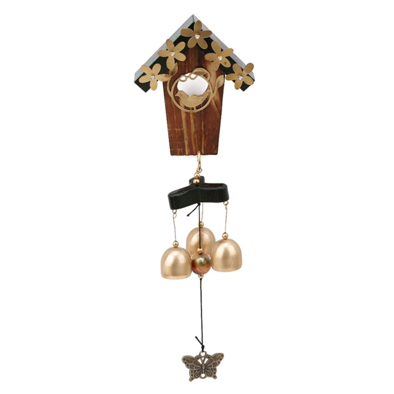 Antique Copper Bird Nest Wind Chimes House Decoration With Bells And Butterfly Retro Windchimes For Yard Garden Home Decoration