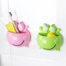 ¡Novedad de 2020! Gran adherencia a la pared con forma de rana soporte para cepillo de dientes soporte para pasta de dientes estante para cepillos de baño soporte para cepillo de dientes
