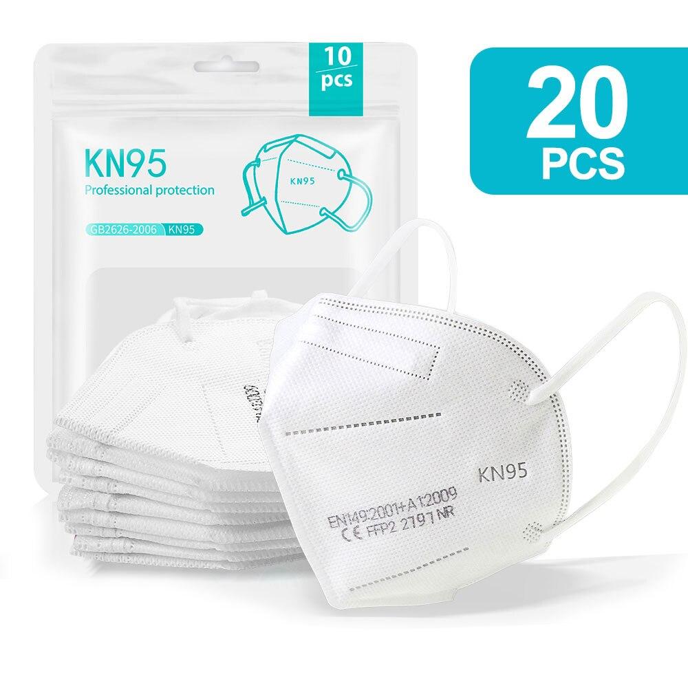 20PCS White-KN95