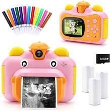 Crianças câmera de impressão instantânea para crianças lente rotatable 1080p hd câmera com papel foto térmica brinquedos câmera para presentes de aniversário