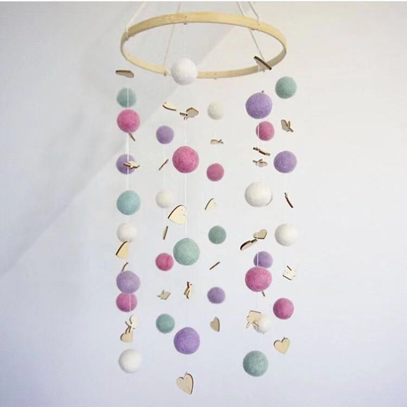Baby Rattles Nordic Rainbow Wind Bell Infant Room Decoration Photography Prop Wool Balls Crib Mobile Activity Play Gym Baby Toys