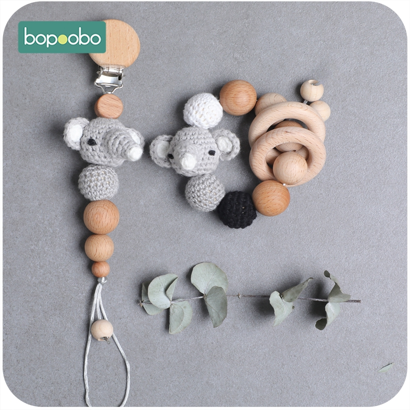 Bopoobo 1PCS Wooden Teether Crochet Elephant Wooden Baby Bib Cotton Towel DIY Wood Pacifier Chain  For Nursing Baby Products