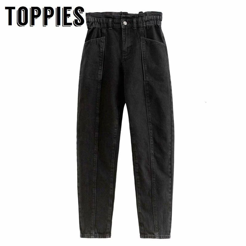Boyfriend Jeans For Women Elastic Waist Black Jeans High Waist Denim Cargo Pants 2020 New Trousers