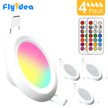 4 stücke LED Downlight Runde Dimmbare 7W RGBW LED kinder Decke Einbau Spot Licht Infrarot controller Farbwechsel AC 110V/220V