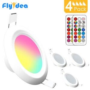Image 1 - 4Pcs LED DownlightรอบDimmable 7W RGBW LEDเด็กเพดานแสงอินฟราเรดควบคุมสีเปลี่ยนAC 110V/220V