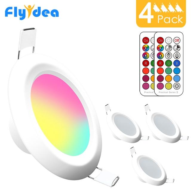 Spot lumineux circulaire encastrable pour le plafond, éclairage à intensité réglable, 7W, RGBW LED, avec contrôleur infrarouge, 4 pièces, LED, AC 110/220V