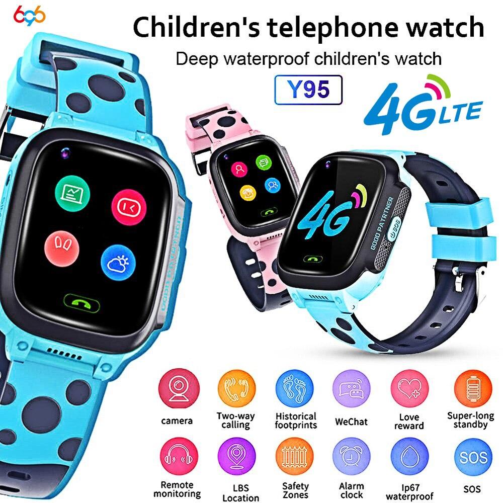 Y95 4G Criança Inteligente Telefone Do Relógio Crianças GPS Relógio Inteligente Wi-fi À Prova D' Água Antil-perdido SIM Localização Rastreador Smartwatch chamada de Vídeo HD