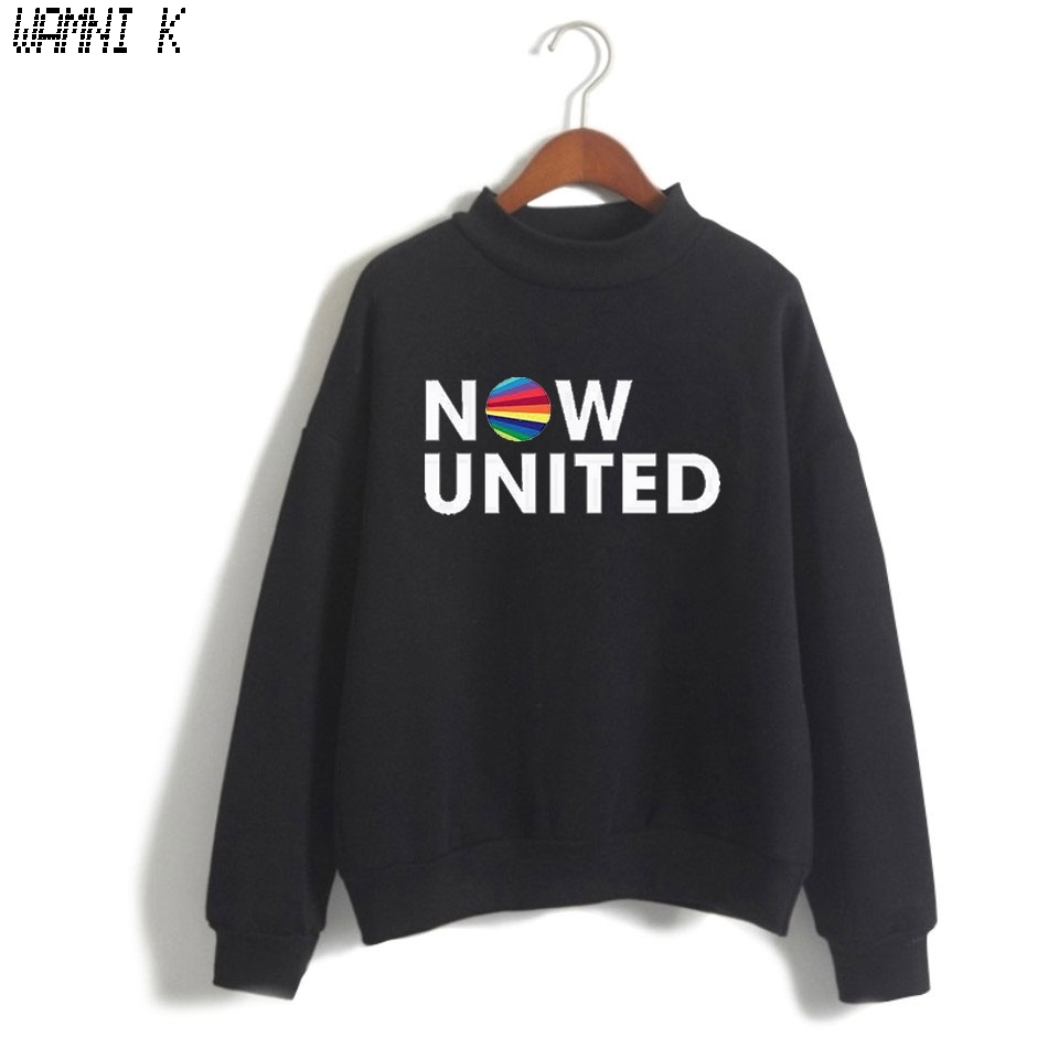 WAMNI Now United - Better Album Turtleneck Sweater Women Better Now United Lyrics Pullover Girl Kawaii Harajuku Tracksui