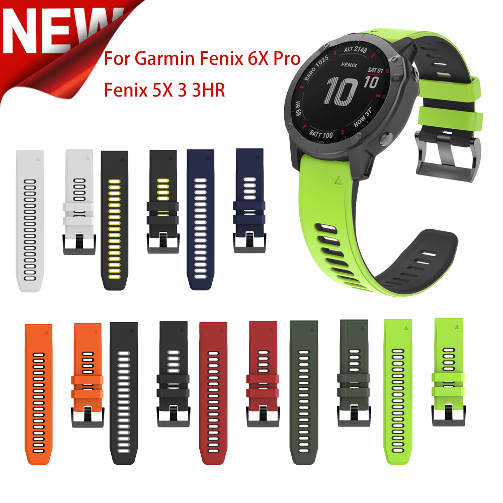 26mm Silicone Watch Strap For Garmin Fenix 6X 5X Sport Silicone Watch Bands With Quick Release Strap For Garmin Fenix 5X 3 3 HR