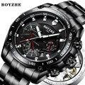 BOYZHE 2020 Мужские автоматические механические часы  яркие Роскошные брендовые черные военные спортивные часы из нержавеющей стали Relogio Ma