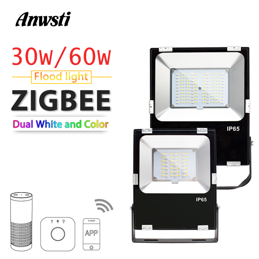 ZIGBEE Smart LED Floodlight 30W 60W RGBCCT Outdoor Light IP65 Waterproof ZIGBEE Light Link AC 110V 220V LED Bulb Lamp Echo Plus