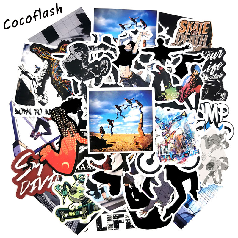 50 PC/set Cool Extreme Sports Parkour Sticker For Skateboard  Laptop Suitcase Waterproof Toy Stickers For Kids