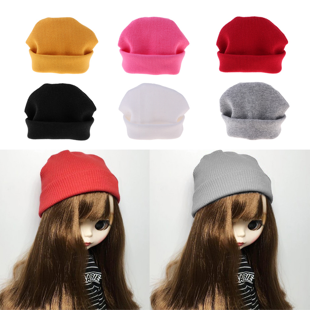1/6 Fashion Doll Woolen Beanie Knitting Hat Skate Cap Casual Outfits For Blythe Winter Clothes Decor Accessories