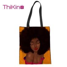 Thikin Fashion African Black Girl Painting Canvas Bag Women Shopping Handbags Portable for  Bags Designer