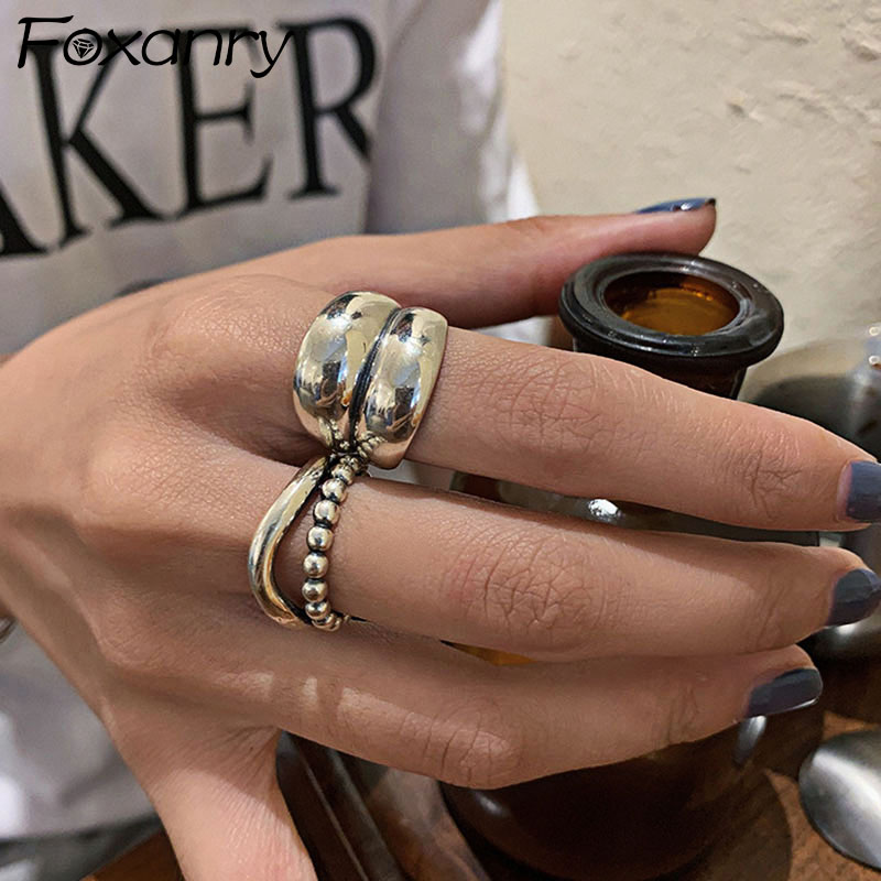 Foxanry 925 Sterling Silver Punk Hiphop Rings for Women New Fashion Vintage Wave Geometric Handmade Birthday Party Jewelry Gifts