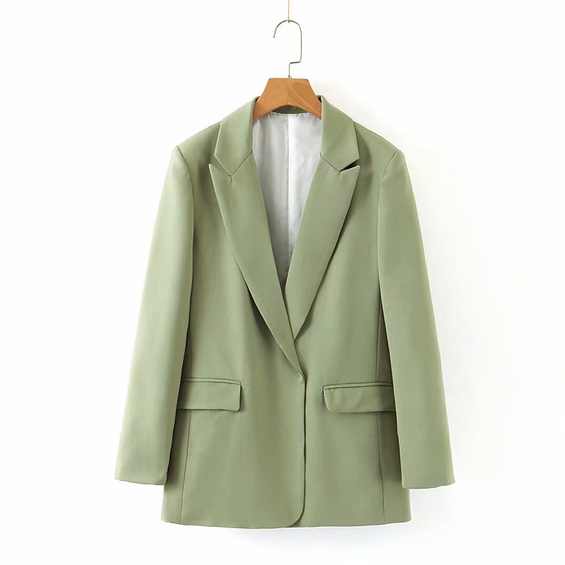 Womens Suits  Jackets Light Green Long Sleeve Spring Hot sale Femme Loose Office Lady Coat