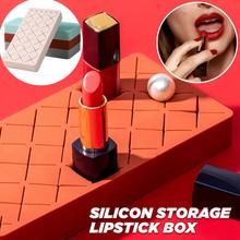 Kreatywny organizator na przybory do makijażu makijaż stojak na szminki pojemnik kosmetyczny futerał do przechowywania etui na szminki pudełko do makijażu uchwyt na tanie tanio CN (pochodzenie) Z gumy silikonowej Cosmetics storage bathroom storage office Storage Boxes drawer organizer organizador