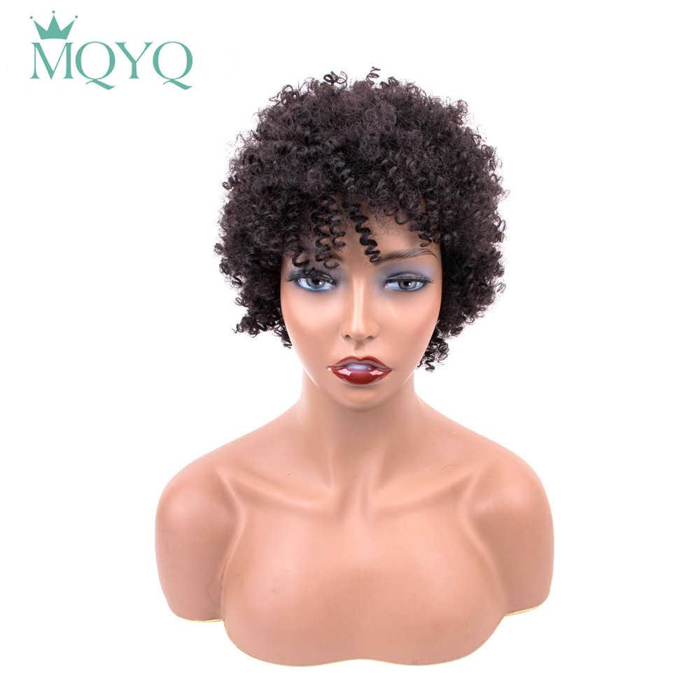 Zaffiro Breve Bob Parrucche Per Le Donne Nere Brasiliano di Remy dei capelli Umani Ricci Afro Parrucca di Capelli 4 pollici 100% Dei Capelli Umani trasporto libero