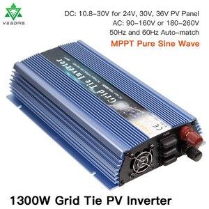 Микро 1300 Вт Солнечный инвертор MPPT на сетке галстук Инвертор Чистая синусоида 18 в 24 в 36 В постоянного тока до 110 В 220 В переменного тока для вет...