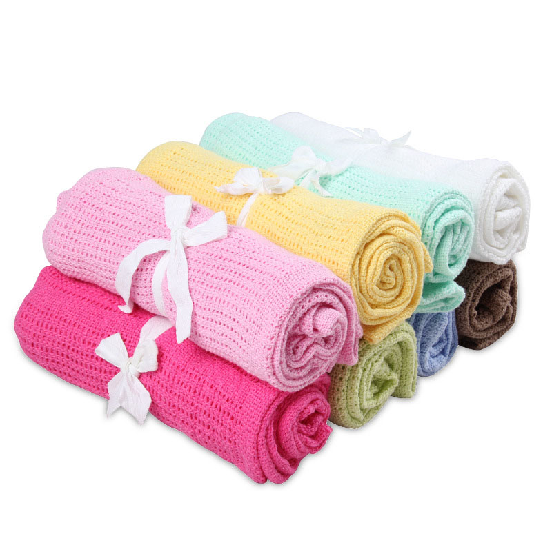 Baby Blanket Knitted Soft Cotton Blankets Newborn Infant Swaddle Baby Wrap Bath Shower Toddler Kids Girl Boy Blanket Accessories