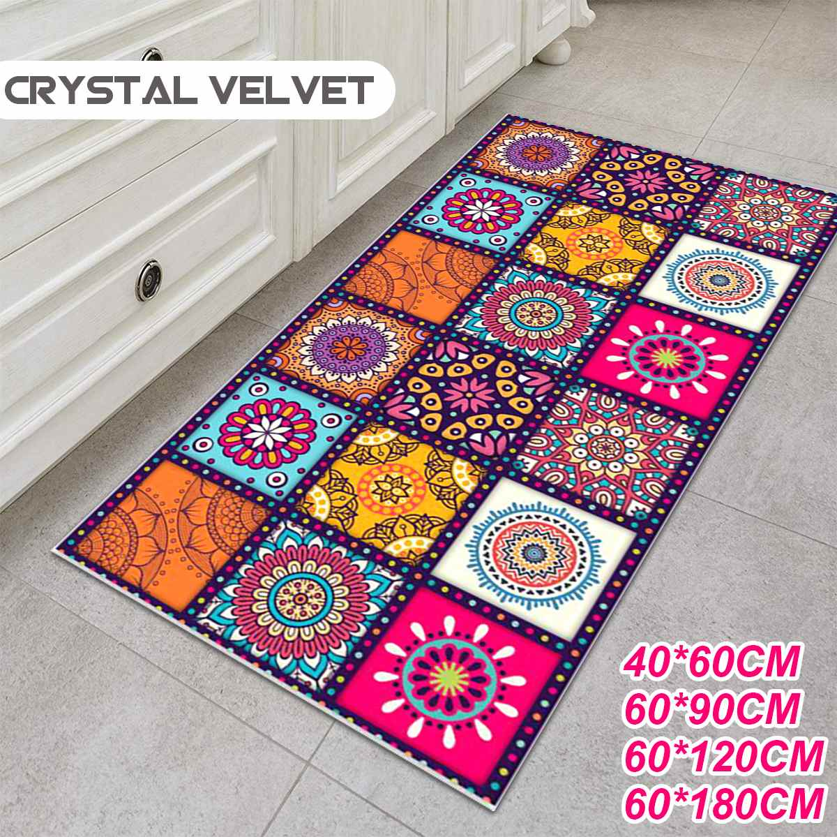 Non-slip Bohemian Style Floral Pattern Rug Floor Mat Living Room Balcony Bathroom Kitchen Bedroom Carpet