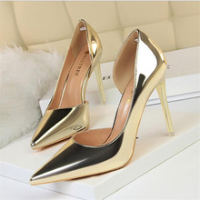 New Fashion High Heels Simple Stiletto Metal High Heel Shallow Mouth Pointed Side Hollow Shoes Wedding Shoes Ladies Women Shoes 2018 fashion delicate sweet bowknot high heel shoes side hollow pointed stiletto heels shoes women pumps