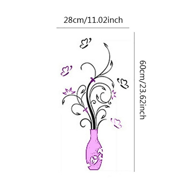 3D Home Decals Decor DIY Fashion 3D Vase Flower Tree Crystal Arcylic Wall Stickers Decal Home Room Indoor Decor Wall Stickers 2
