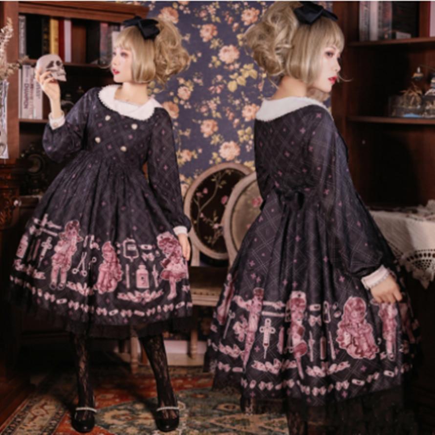 kawaii girl gothic lolita op Gothic palace sweet lolita dress vintage lace peter pan collar printing high waist victorian dress