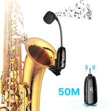 UHF Wireless Saxophone Microphone System Clip on Musical Instruments 50M Wireless Receiver Transmitter for Saxophone Trumpet