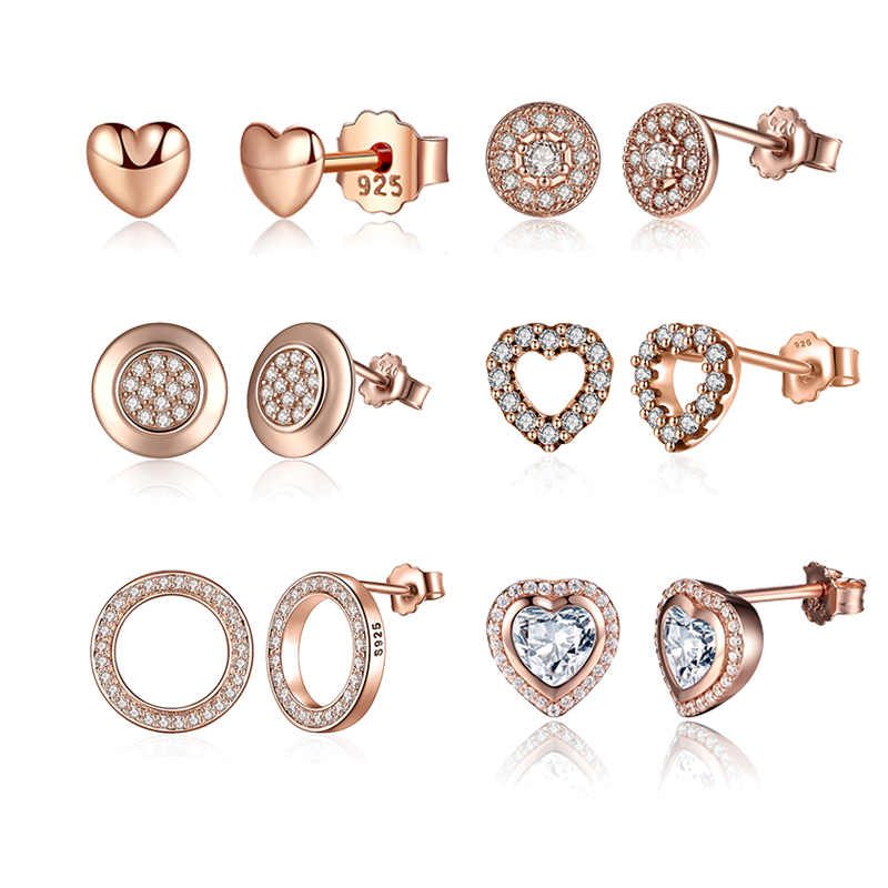 100% 925 Sterling Silver & Gold Color Forever Stud Earrings With Clear CZ For Women Original Fine Jewelry Gift
