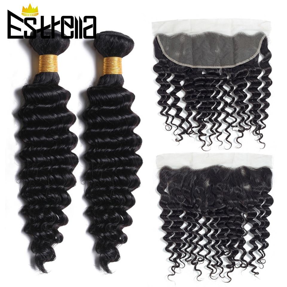 Brazilian Deep Wave Hair 2 Bundles With13x4 Ear To Ear Lace Frontal Closure Remy Human Hair Deep Wave Bundles With Frontal