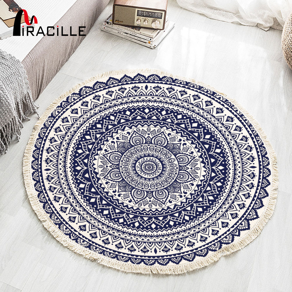 Miracille Round Boho Area Rug With Tassel Cotton Woven Carpet For Living Room Bedroom Mandala Design Floor Mat Home Decoration