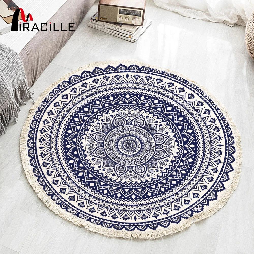 miracille tapis rond boho tisse en coton avec pompons tapis de sol design mandala pour salon et chambre a coucher decoration de la maison