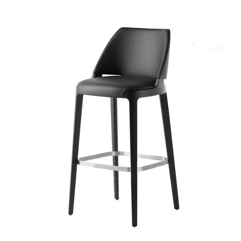 Modern Solid Wood Leather Art Bar Chair American Hotel KTV Reception Desk Bar Chair Bar Chair