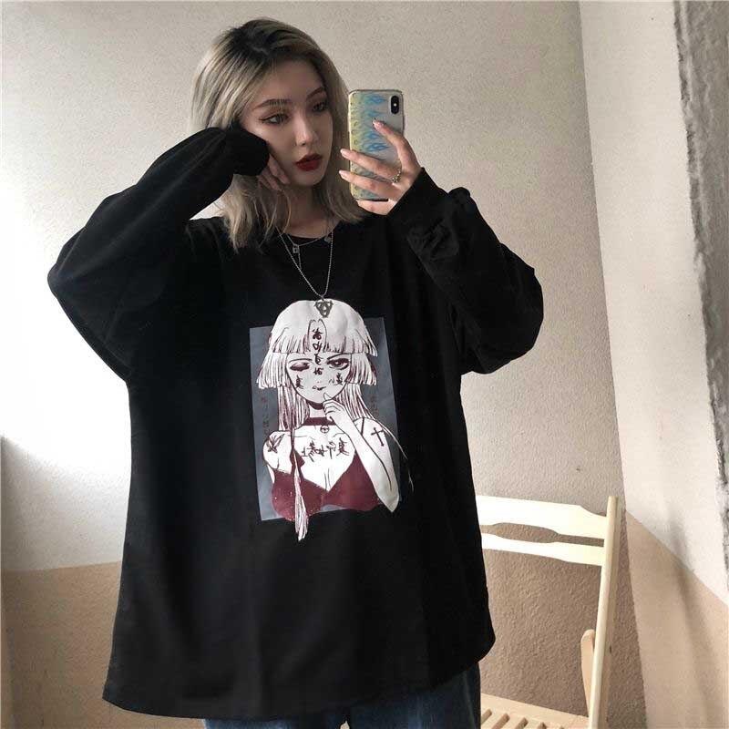NiceMix Harajuku Kawaii Anime Printed T-shirt Women Gothic Oversized Black Tee Femme Tops Cute Friends White Tshirt Korean 90s C