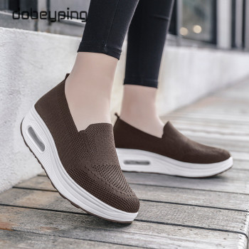 Spring Autumn Women's Swing Shoes Mesh Woman Loafers Flat Platforms Female Shoe Wedges Ladies Shoes Height Increasing Sneakers