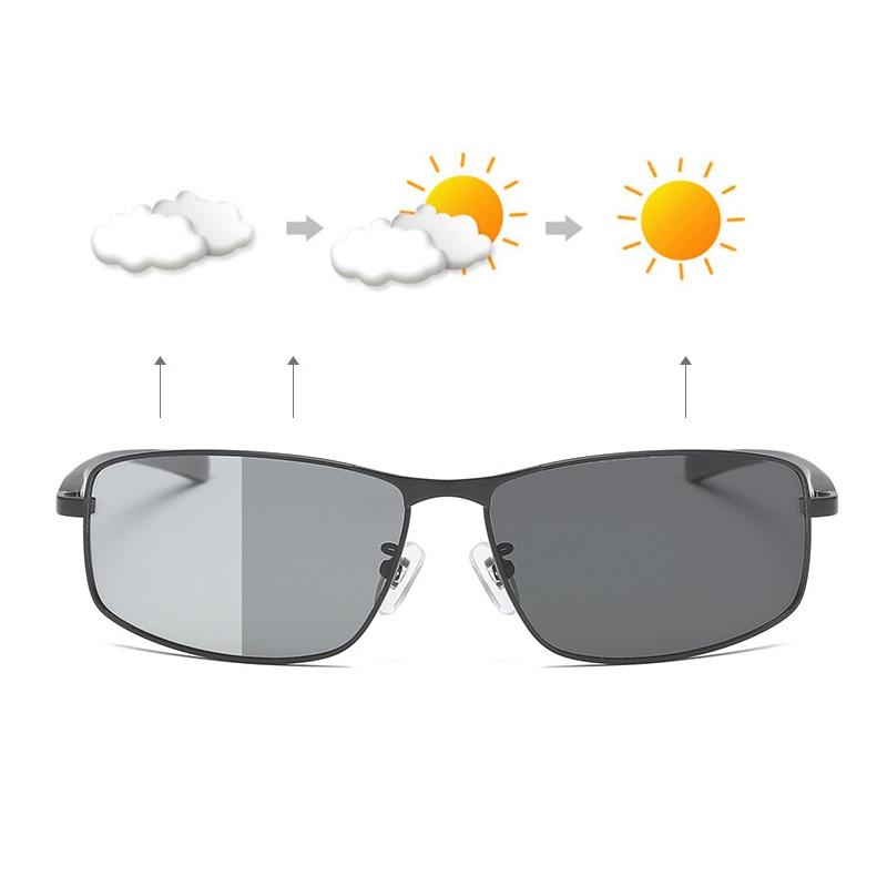 Фотохромные солнцезащитные очки, Мужские поляризационные очки-Хамелеон, мужские солнцезащитные очки, меняющие цвет, день, ночное видение