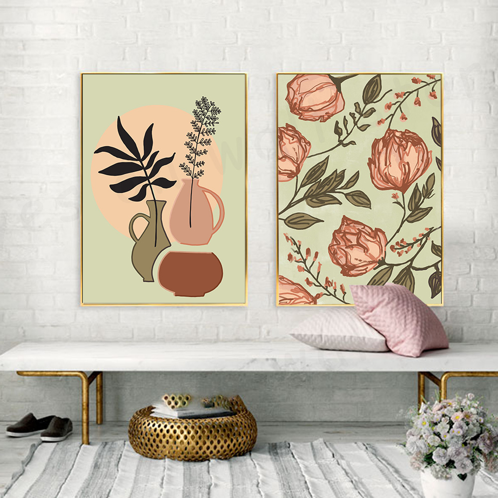 Minimalist Wall Art Painting Line Leave Canvas Prints Flower Bud Decorative Image for Living Room Nordic Style Home Decor