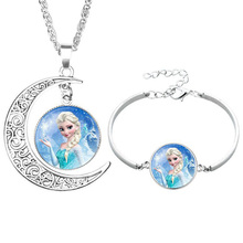 2pcs Disney Frozen Elsa And Anna Alloy Necklace Bracelet Set Sofia Ariel Princess Girls Clothing Accessories Birthday Toy Gift