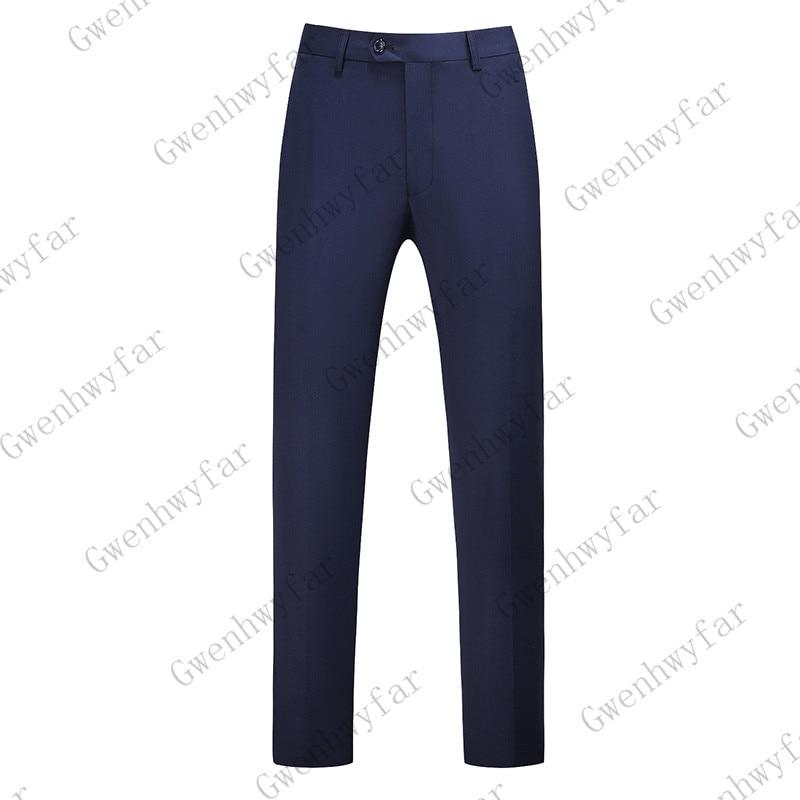 Gwenhwayfar, мужские синие клетчатые брюки, деловой костюм, брюки, деловые повседневные облегающие брюки, Классический Клетчатый костюм, брюки для свадьбы - Цвет: navy blue