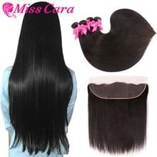 Cheveux raides péruviens paquets avec frontale Miss Cara 100% cheveux humains Remy 3/4 paquets avec fermeture 13*4 frontaux avec paquets