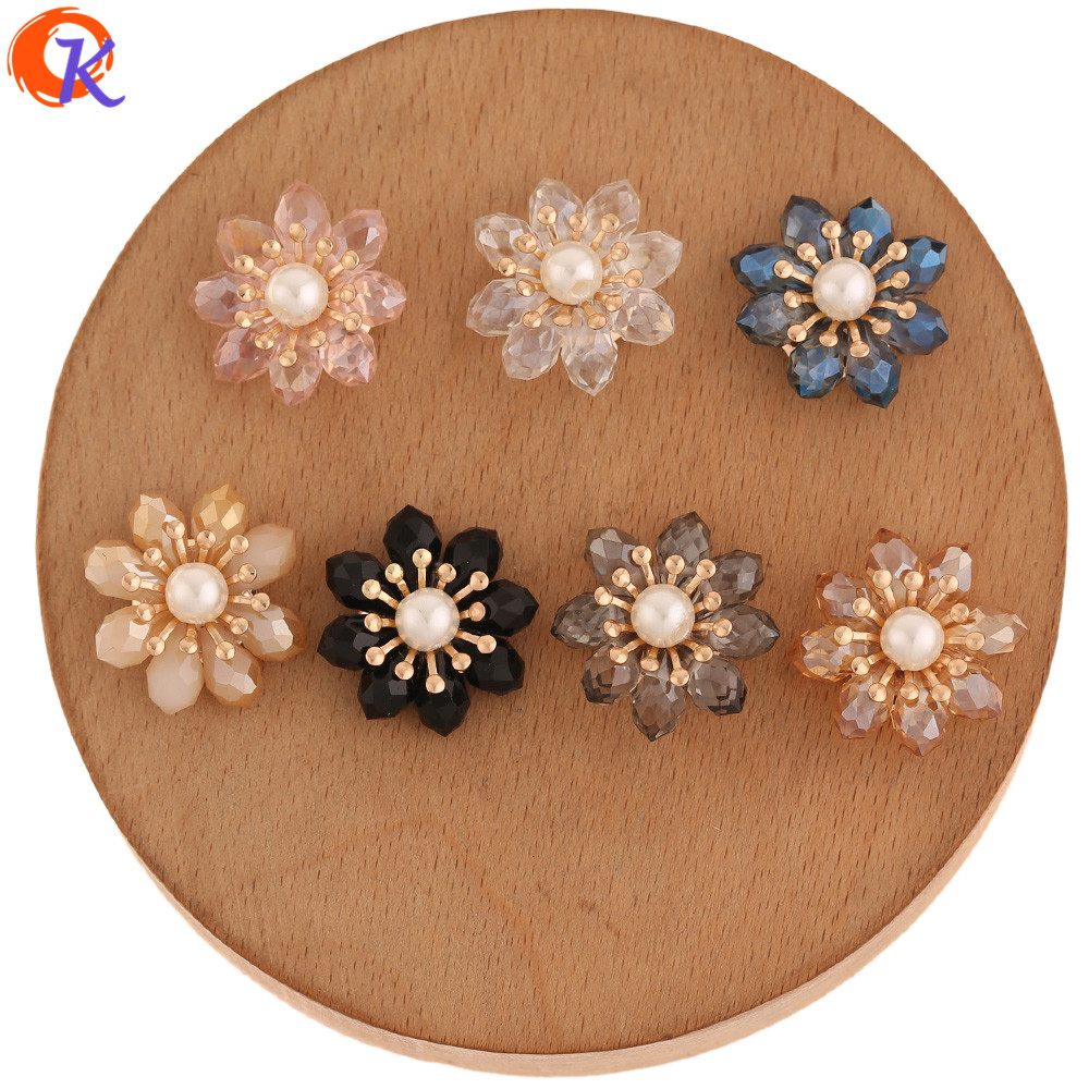Cordial Design 20Pcs 21*21MM Jewelry Accessories/Hand Made/Crystal Flower Shape/DIY Making/Earring Findings/Crystal Bead Charms